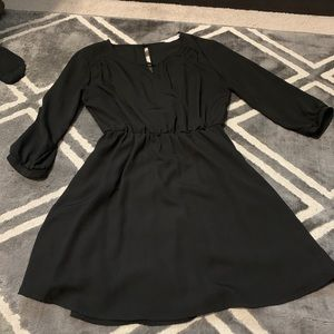 Black 3/4 sleeve dress with cinched waist